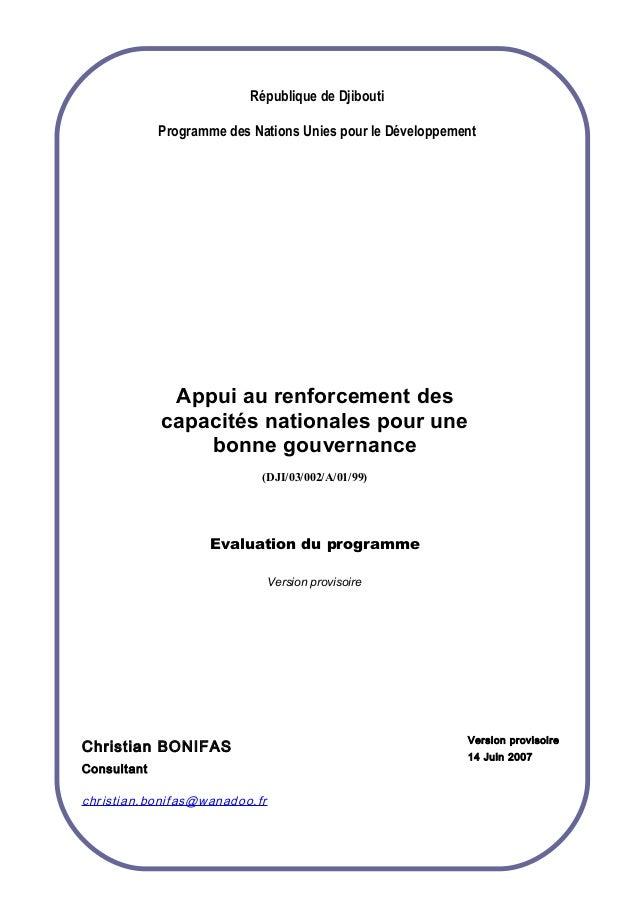 République de Djibouti Programme des Nations Unies pour le Développement Appui au renforcement des capacités nationales po...