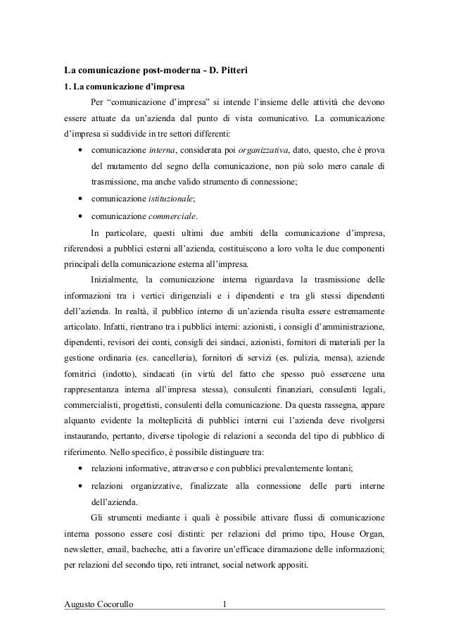 """La comunicazione post-moderna - D. Pitteri1. La comunicazione d'impresaPer """"comunicazione d'impresa"""" si intende l'insieme ..."""