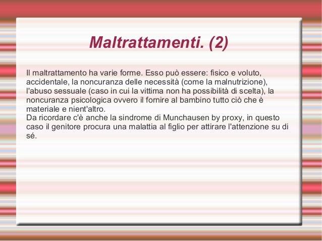 Appunti pediatria for Sindrome di munchausen per procura