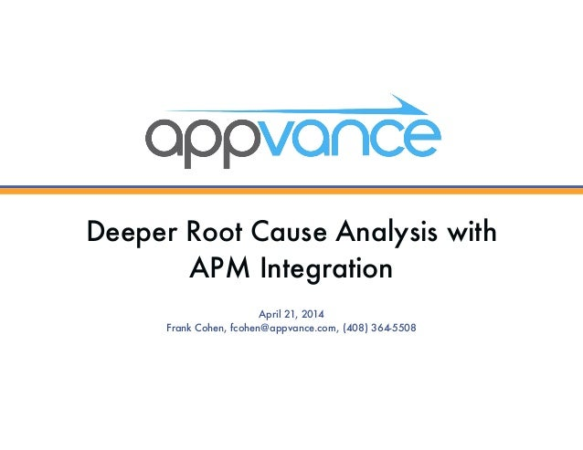 Deeper Root Cause Analysis with APM Integration April 21, 2014 Frank Cohen, fcohen@appvance.com, (408) 364-5508