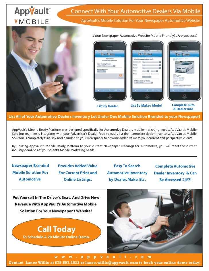 Connect With Your Automotive Dealers Via Mobile                                                  AppVaults Mobile Solution...
