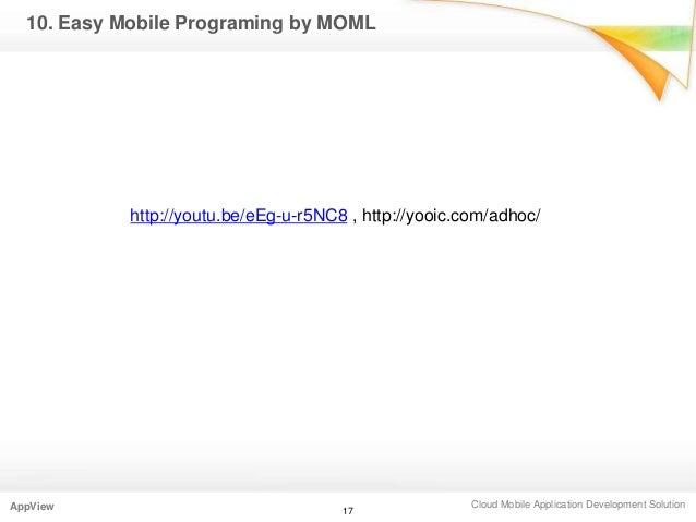 Cloud Mobile Application Development SolutionAppView 1710. Easy Mobile Programing by MOMLhttp://youtu.be/eEg-u-r5NC8 , htt...