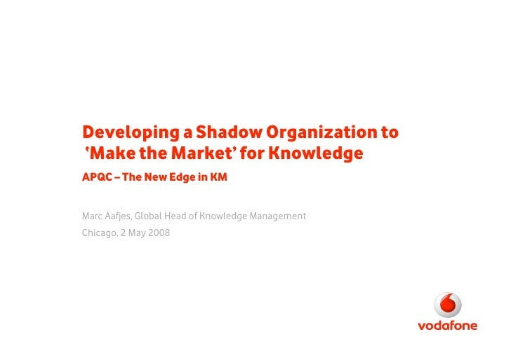 Developing a Shadow Organization to 'Make the Market' for Knowledge APQC – The New Edge in KM   Marc Aafjes, Global Head o...