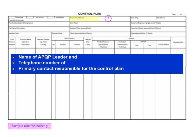 Apqp And Control Plan