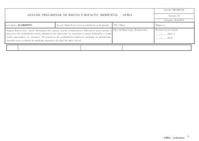 ANÁLISE PRELIMINAR DE RISCOS E IMPACTO AMBIENTAL – APRIA  Anexo: PR-SEG-06  Vers ão: 01  Criação: Jun/2014  At ividade: AC...