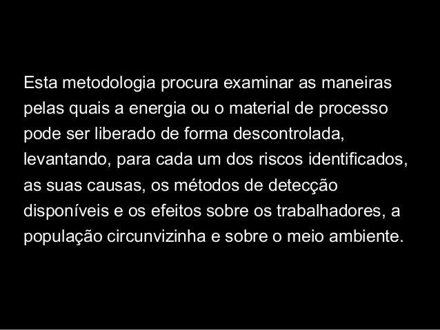 Esta metodologia procura examinar as maneiras pelas quais a energia ou o material de processo pode ser liberado de forma d...