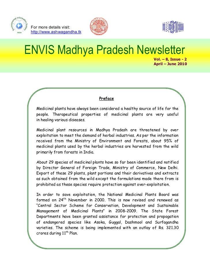For more details visit: http://www.ashwagandha.tkENVIS Madhya Pradesh Newsletter                                          ...