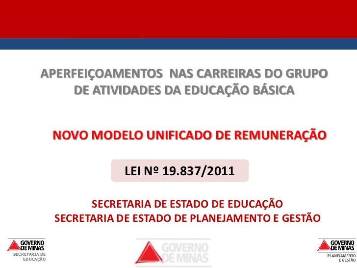 APERFEIÇOAMENTOS NAS CARREIRAS DO GRUPO               DE ATIVIDADES DA EDUCAÇÃO BÁSICA                NOVO MODELO UNIFICAD...