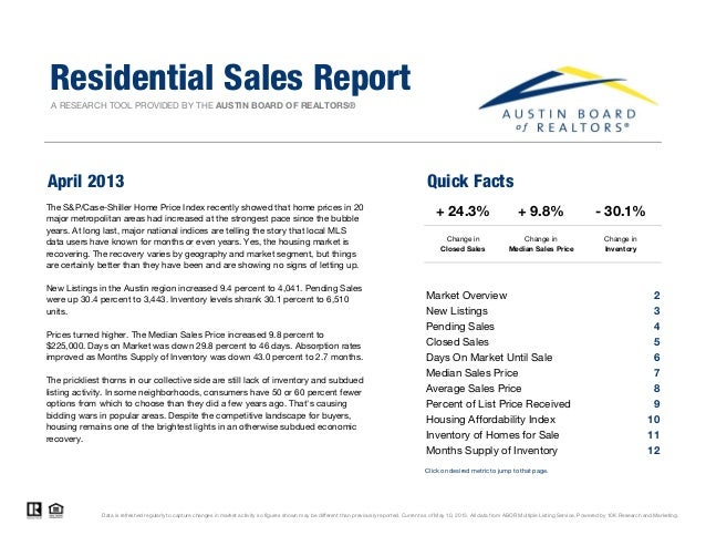 A RESEARCH TOOL PROVIDED BY THE AUSTIN BOARD OF REALTORS®April 2013 Quick FactsResidential Sales Report+ 9.8%Change inMedi...