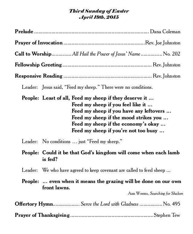 Sermon Feed My Sheep: Knightdale Baptist Church April 19th Worship Bulletin