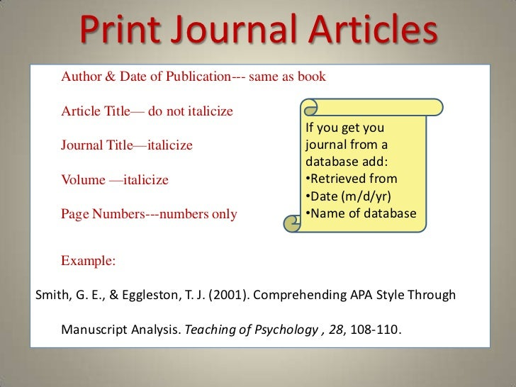 writing article titles in an essay apa example