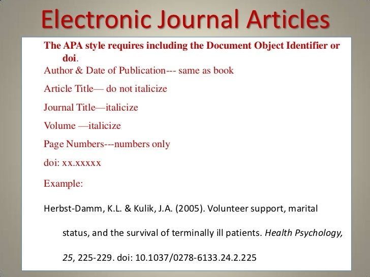 apa style journal article