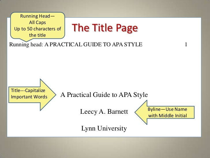 Apa format research paper running head