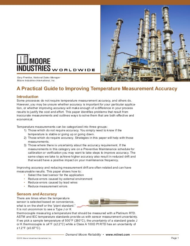 Page 1 Demand Moore Reliability • www.miinet.com A Practical Guide to Improving Temperature Measurement Accuracy Gary Pren...