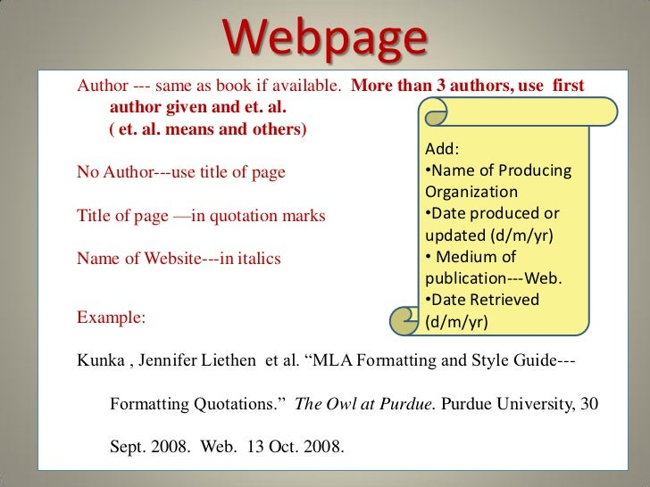 mla format webpage