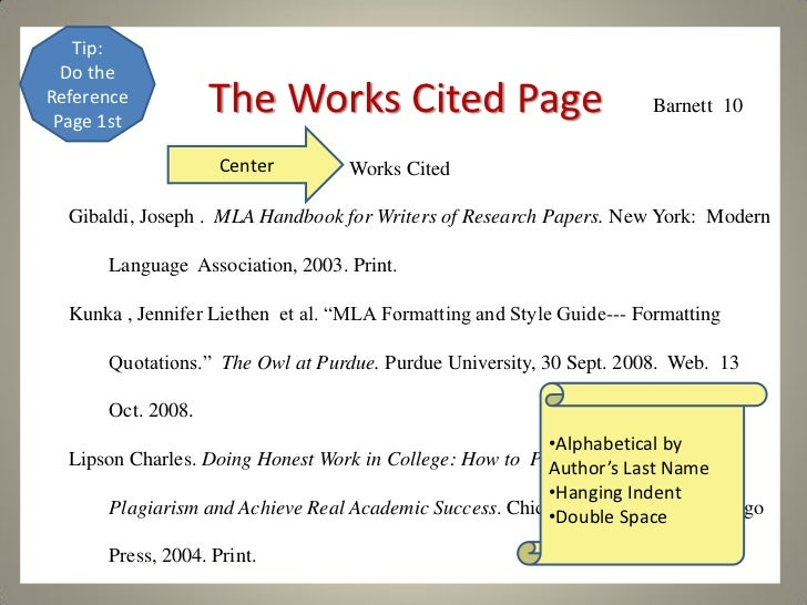 Sample Bibliography or Works Cited in MLA Style