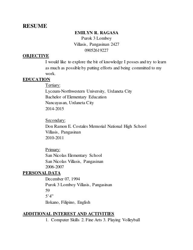 sample resume for teachers deped