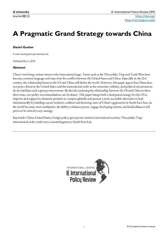 IE University IE International Policy Review (IPR) Journal 02 (1) https://doi.org/ https://ipr.blogs.ie.edu/ 1 © IE Creati...