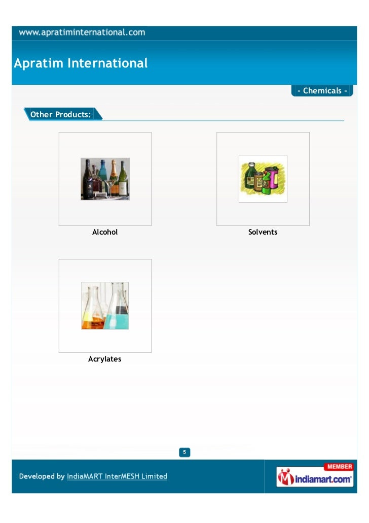 Apratim International                                         - Chemicals -  Other Products:                    Alcohol   ...