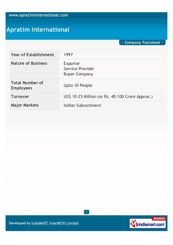 Apratim International                                                       - Company Factsheet - Year of Establishment   ...
