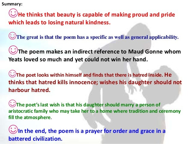 summary of the poem a prayer for my daughter