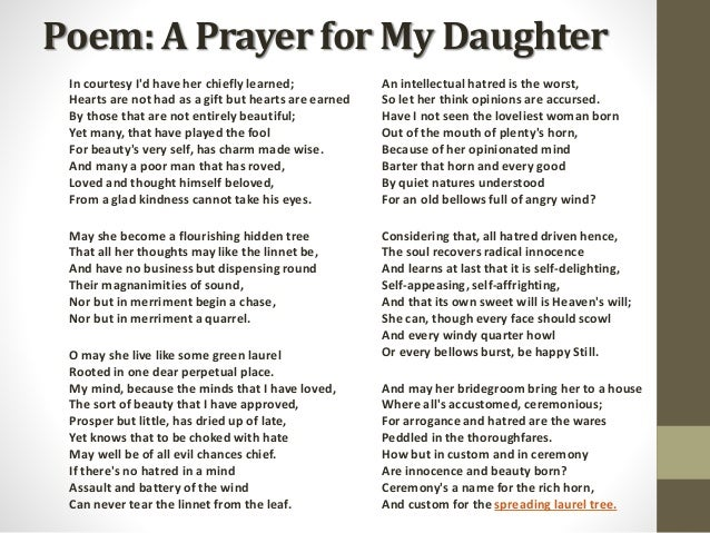 A Prayer For My Daughter by W.B. Yeats Prepared by Kaushal Desai