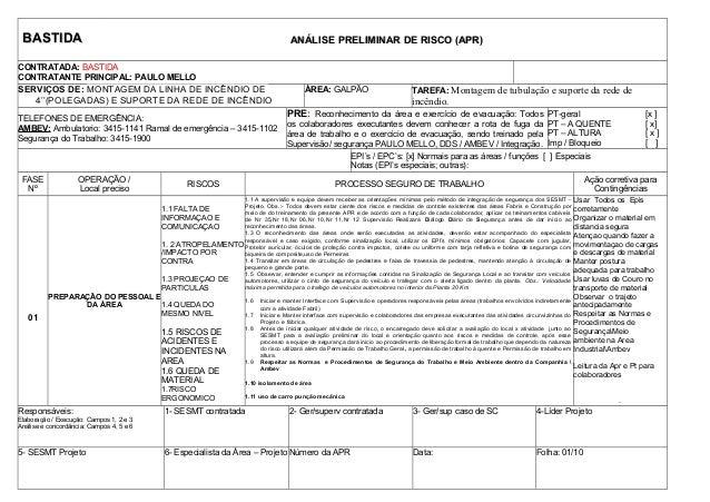 BASTIDABASTIDA ANÁLISE PRELIMINAR DE RISCO (APR)ANÁLISE PRELIMINAR DE RISCO (APR) CONTRATADA: BASTIDA CONTRATANTE PRINCIPA...