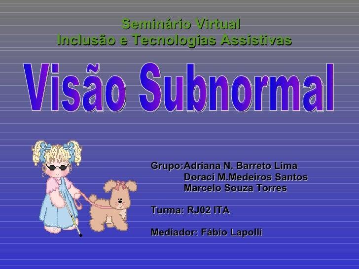Seminário Virtual Inclusão e Tecnologias Assistivas Grupo:Adriana N. Barreto Lima Doraci M.Medeiros Santos Marcelo Souza T...