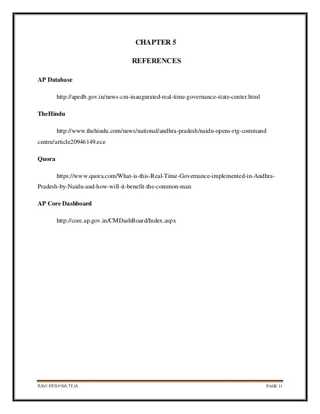 RAVI KRISHNA TEJA PAGE 11 CHAPTER 5 REFERENCES AP Database http://apedb.gov.in/news-cm-inaugurated-real-time-governance-st...