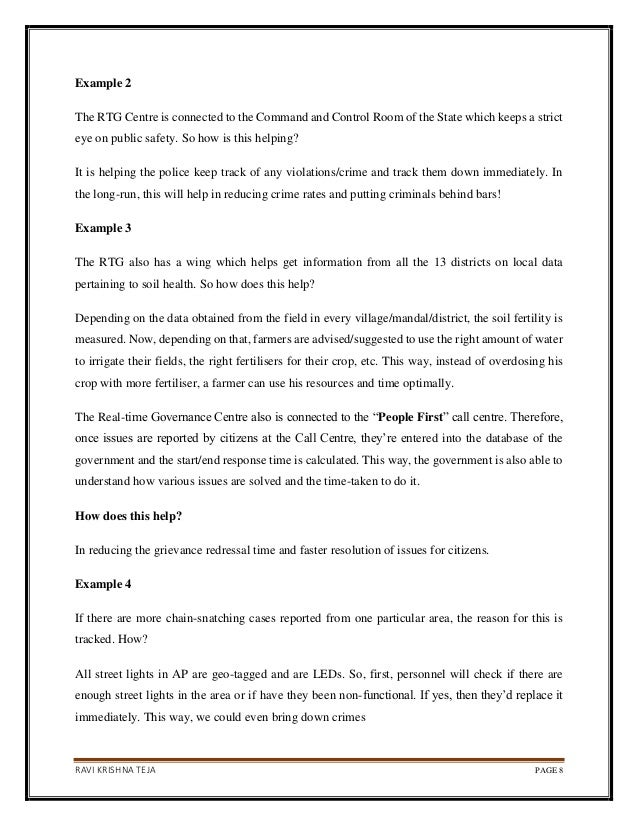 RAVI KRISHNA TEJA PAGE 8 Example 2 The RTG Centre is connected to the Command and Control Room of the State which keeps a ...