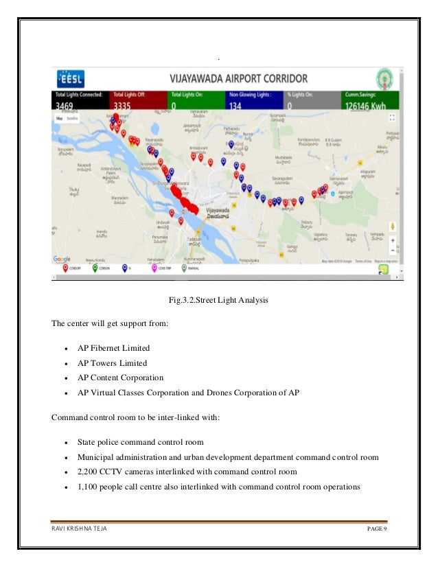 RAVI KRISHNA TEJA PAGE 9 . Fig.3.2.Street Light Analysis The center will get support from: • AP Fibernet Limited • AP Towe...