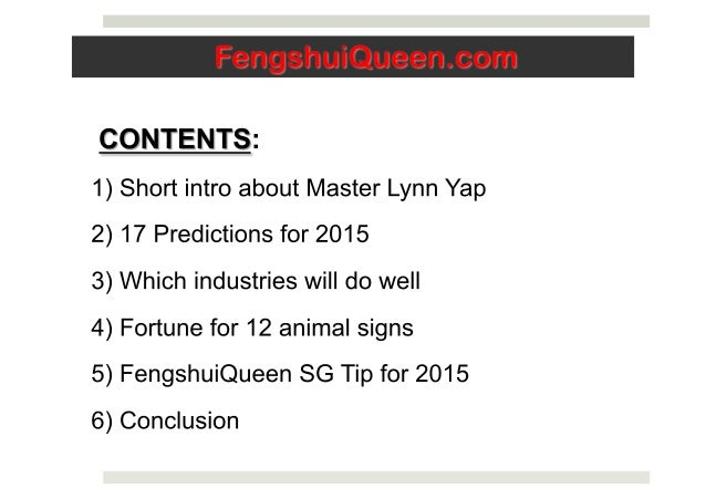 Predictions 2015 by Master Lynn Yap, Fengshui Queen SG Slide 3