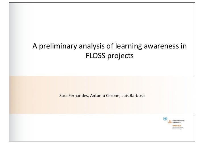 A preliminary analysis of learning awareness in                       FLOSS projects            Sara F...