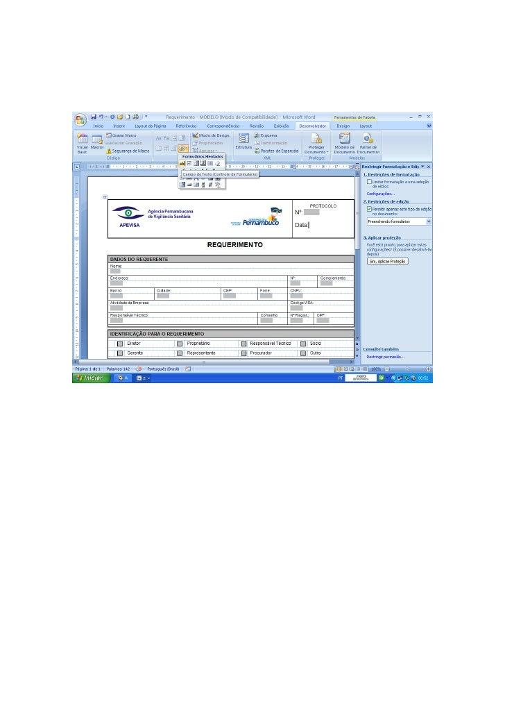 Aprendendo a proteger e desproteger o formulário digital
