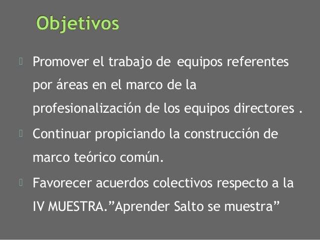 ⦿ Promover el trabajo de equipos referentes por áreas en el marco de la profesionalización de los equipos directores . ⦿ C...