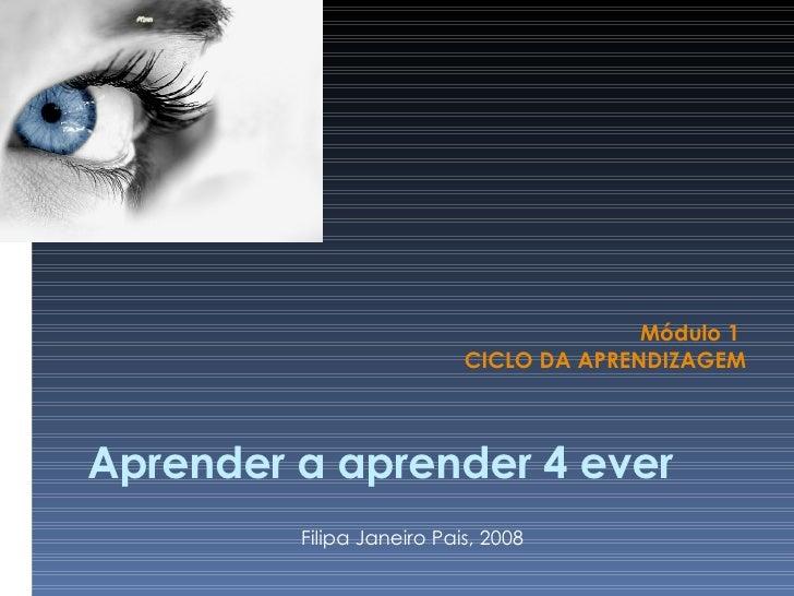 Aprender a aprender 4 ever Módulo 1  CICLO DA APRENDIZAGEM Filipa Janeiro Pais, 2008