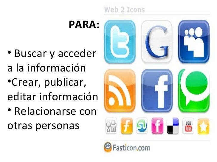 <ul><li>PARA: </li></ul><ul><li>Buscar y acceder a la información </li></ul><ul><li>Crear, publicar, editar información </...