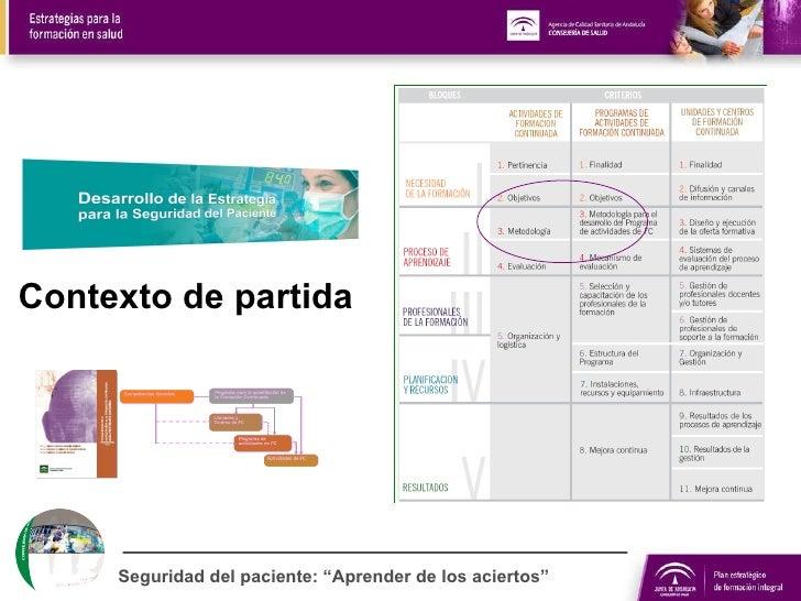 """Contexto de partida Seguridad del paciente: """"Aprender de los aciertos"""""""