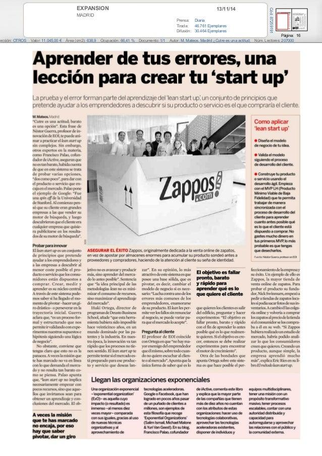 EXPANSION 13/11/14  MADRID  Prensa: Diaria  Tirada: 46.761 Ejemplares  Difusión: 30.464 Ejemplares  Página: 16  Cód: 87259...