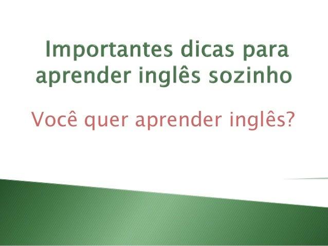 Você quer aprender inglês?