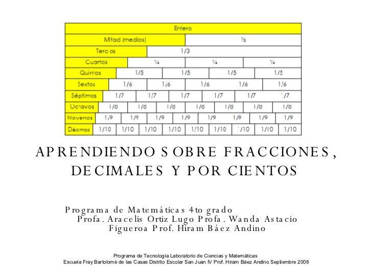APRENDIENDO SOBRE FRACCIONES, DECIMALES Y POR CIENTOS Programa de Matemáticas 4to grado  Profa. Aracelis Ortiz Lugo Profa....