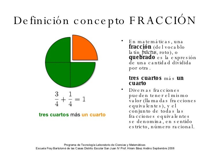 Aprendiendo sobre fracciones for Definicion de cuarto