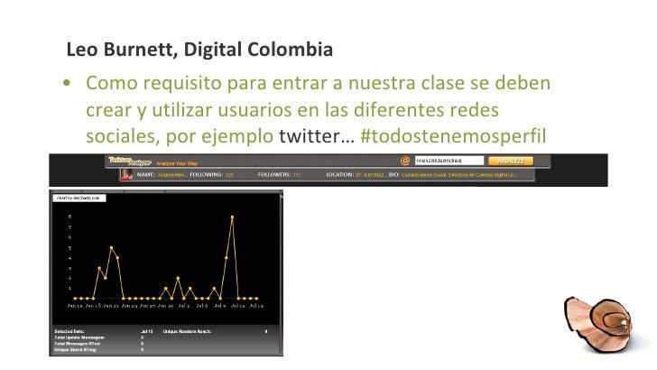 Leo Burnett, Digital Colombia <ul><li>Como requisito para entrar a nuestra clase se deben crear y utilizar usuarios en las...