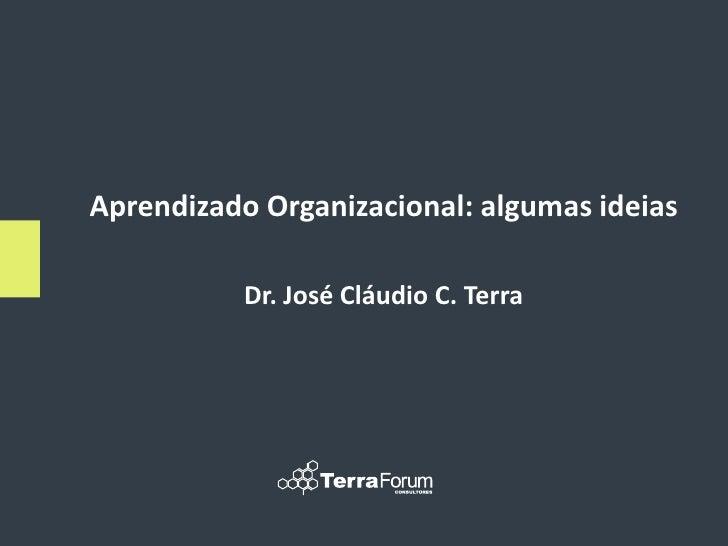 Aprendizado Organizacional: algumas ideias             Dr. José Cláudio C. Terra