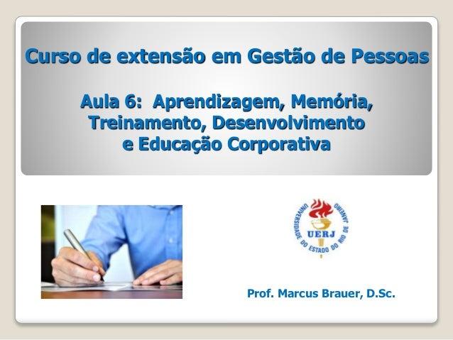 Curso de extensão em Gestão de Pessoas  Aula 6: Aprendizagem, Memória,  Treinamento, Desenvolvimento  e Educação Corporati...