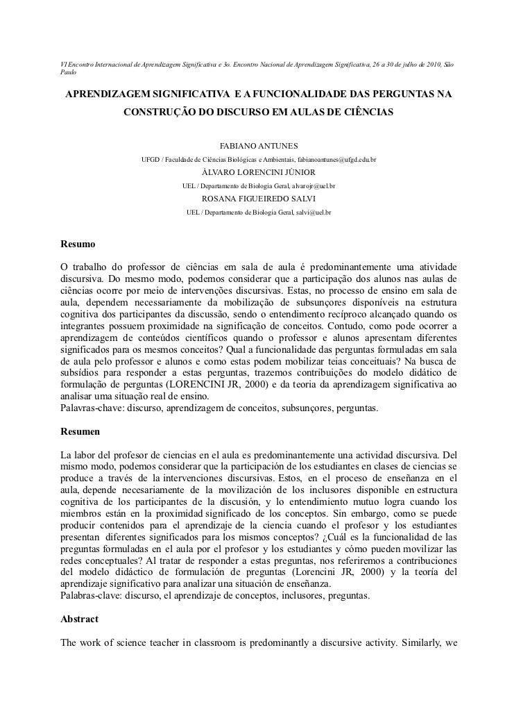 VI Encontro Internacional de Aprendizagem Significativa e 3o. Encontro Nacional de Aprendizagem Significativa, 26 a 30 de ...
