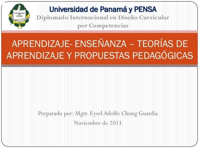 Universidad de Panamá y PENSA Diplomado Internacional en Diseño Curricular por Competencias  APRENDIZAJE- ENSEÑANZA – TEOR...