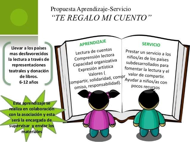 """Propuesta Aprendizaje-Servicio""""TE REGALO MI CUENTO""""Llevar a los paísesmas desfavorecidosla lectura a través derepresentaci..."""