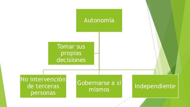Autonomía  No intervención  de terceras  personas  Gobernarse a si  mismos  Independiente  Tomar sus  propias  decisiones