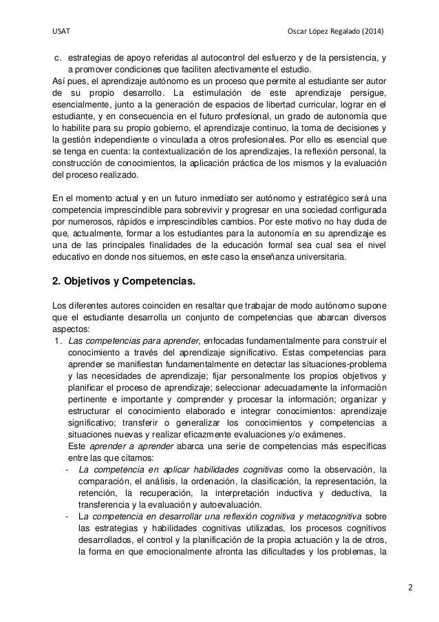 USAT Oscar López Regalado (2014) 2 c. estrategias de apoyo referidas al autocontrol del esfuerzo y de la persistencia, y a...